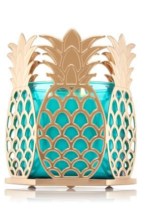 "Golden Pineapple - 3-Wick Candle Sleeve - Bath & Body Works - Nothing says ""welcome home"" like a tropical pineapple in a gold tone finish! Pair this metal sleeve with your favorite 3-Wick and light up your d�cor!"