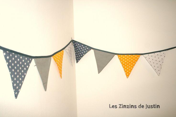 Guirlande fanion coton jaune et grise d coration pour for Guirlande fanion chambre bebe