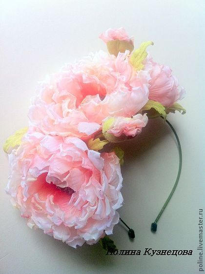 """Ободок """"Кораловые грезы"""" - цветы из ткани,цветы ручной работы,ободок для волос"""