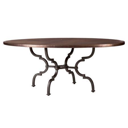 Bernhardt bridgetown copper topped dining table with curved iron legs and adjustable glides - Table glides for legs ...