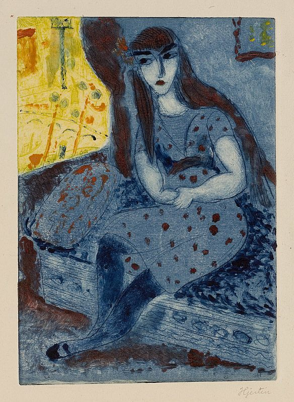 huariqueje:  At the Window  -   Sigrid Hjertén  1917 Swedish  1885-1948   Etching (monotype) 20.5 x 14.5 cm