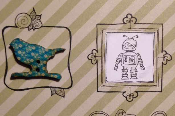 Catching up with the Challenge Every Inchie Monday with inchies Button and Robot