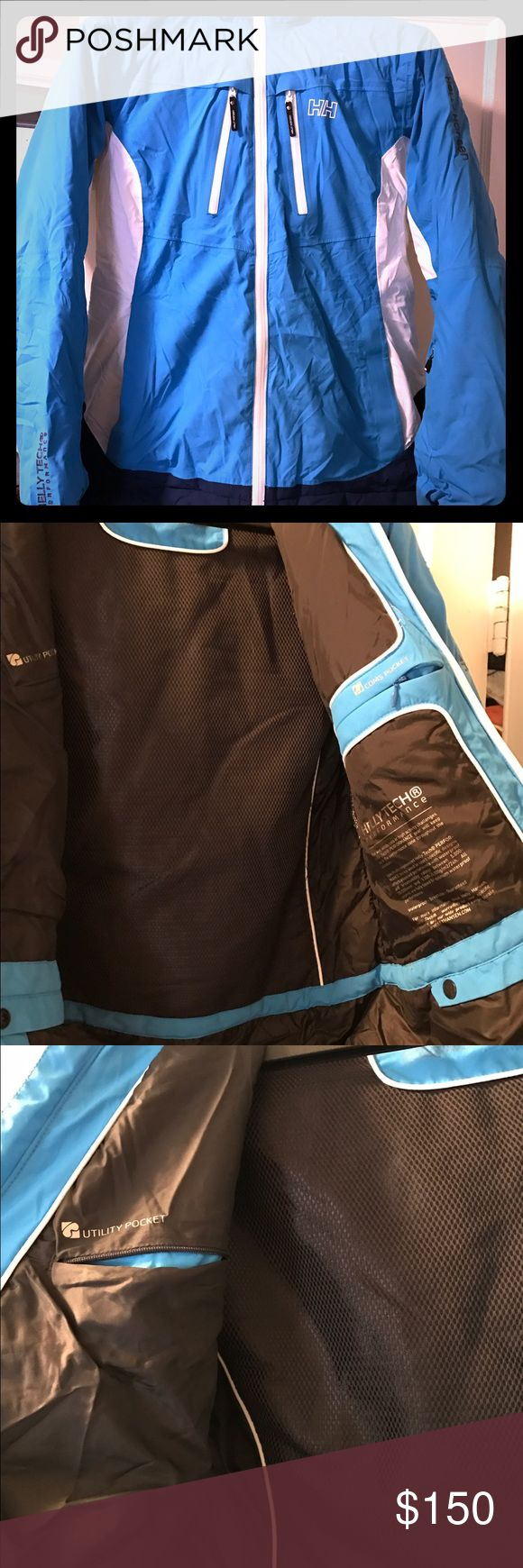 """Helly Hansen ski jacket Insulated, waterproof with Helly tech. Beautiful sky blue color. Covers a helmet. I tend to buy my ski jackets a couple sizes up because that's my style so this could fit a range of sizes. I let my friend who is 5'9"""" (size 8) wear it once and it fit her perfectly. I am 5'6"""" and in clothes wear a 0-2. I love this jacket because it's amazing quality but it doesn't match any of my ski pants! Helly Hansen Jackets & Coats"""