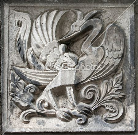 Old bas-relief of fairytale firebird — Stock Photo #5763620