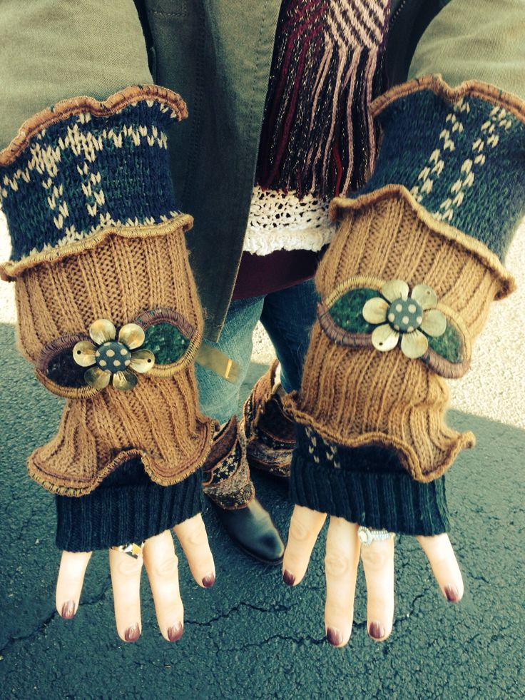 Repurposed Old Sweaters As Fingerless Gloves Fall