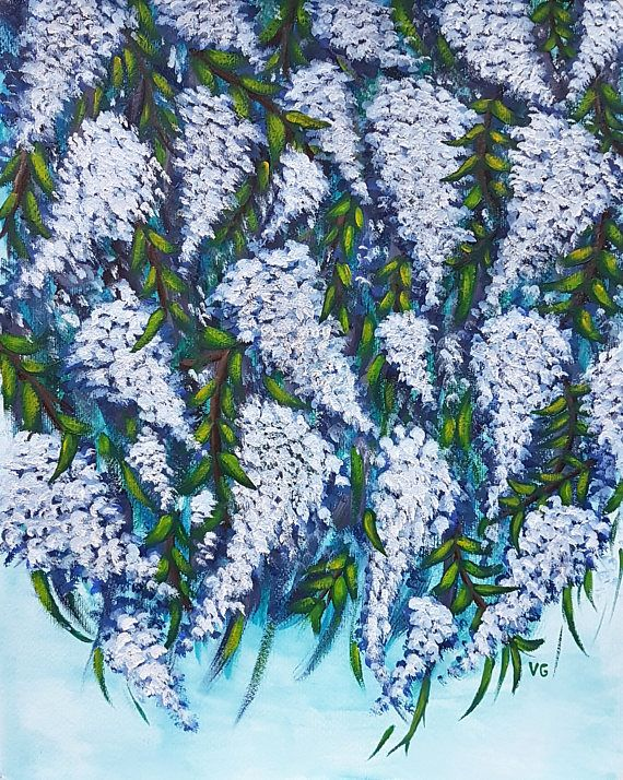 Flower Painting. Floral Painting. Wisteria Painting. Acrylic