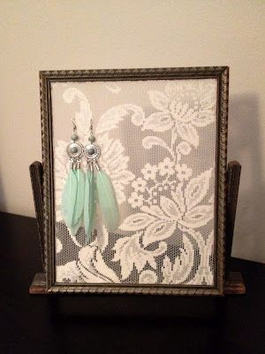 How to make Picture Frame Earring Holder #DIY #Gifts #Homemade