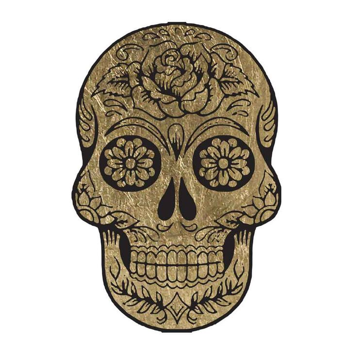 "Wear a sugar skull (calavera) to show your pride on the Day of the Dead. Sheet Size: 2"" x 3.5"" Lasts 5-7 days even with swimming and bathing! - Easy to put on and easy to remove! - Skin safe ingredien"