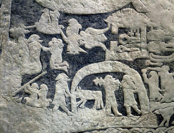 This stone carving from sweden shows warriors in the