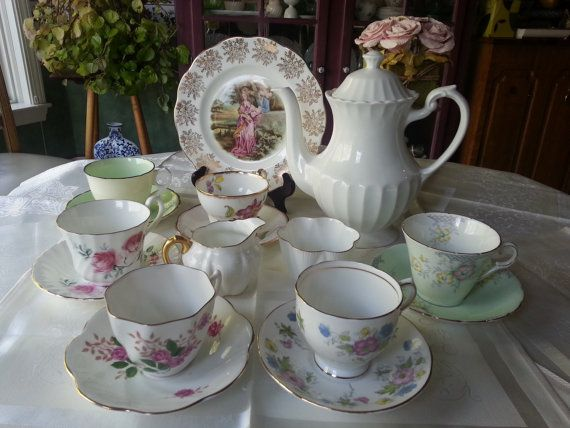 English Mismatched Tea Set,16 Pieces, Alice in Wonderland, Shelley, Royal Albert,Treasury Item
