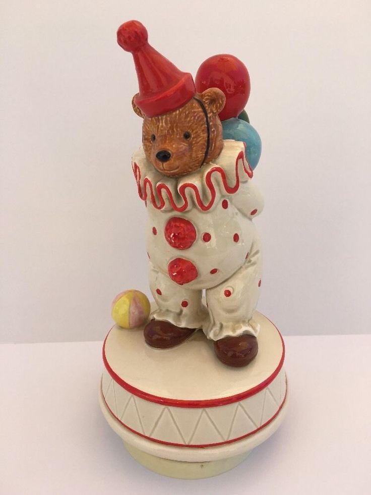 Schmid Music Box Bear Clown Rotating Figurine - Plays Send in the Clowns #270 #Schmid