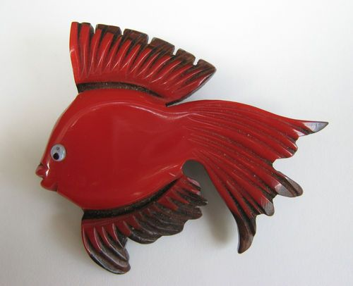 Vintage Carved Red Cherry Bakelite Wood Tropical Fish Pin Brooch RARE Find | eBay