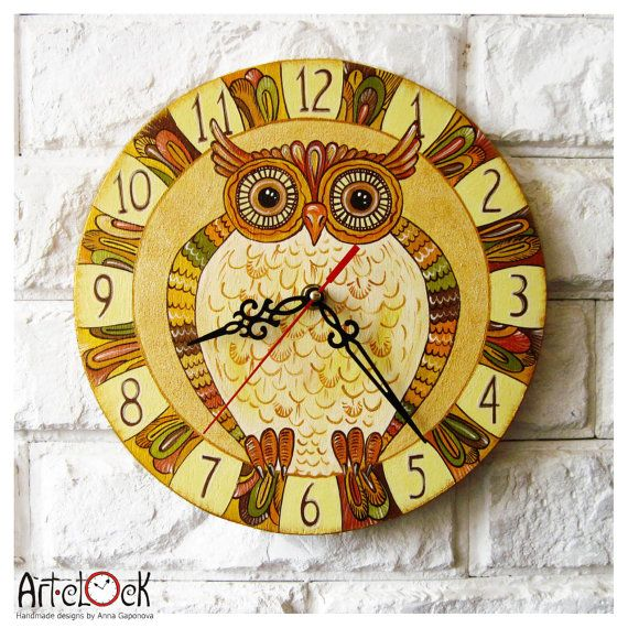 The Brown Owl  Wall Clock Home Decor for Children Baby by ArtClock, $40.00: Owl Wall, Baby Kids, Owl Clocks, Children Baby, Wall Clocks, Clocks Time, Kids Boys, Brown Owl, Boys Girls