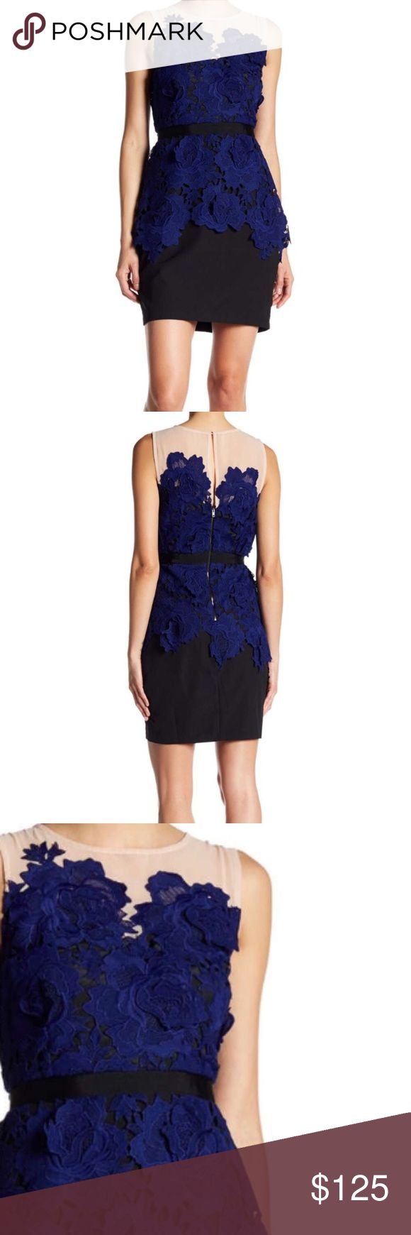 """Adelyn Rae Floral Lace Sheath Dress New With Tags- Classy sheath dress with crew neck, nude sheer yoke, back button and exposed zip closure with keyhole, floral lace detail in blue, black banded waist, flattering silhouette and semi lining. A must have! 100% Polyester. Bust 37""""-38"""", Waist 31"""", Length 35"""". Adelyn Rae Dresses Mini"""
