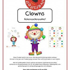 Rekenspellenpakket-clowns Clown Trubbel werkt in het circus. Elke dag gooit hij kleurige ballen omhoog. Eén keer in het jaar viert Trubbel graag carnaval. Dan ruilt hij zijn ballen in voor confetti.  Met het spellenpakket clowns oefenen de kinderen spelenderwijs het tellen, de kleuren en de getalsymbolen t/m 20. Het pakket bevat telkaartjes, dobbelspellen, een gezelschapsspel en twintig (kring)suggesties met teldopjes.