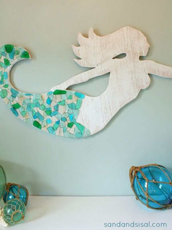 Learn how to make your own seaglass and cedar wood mermaid art.