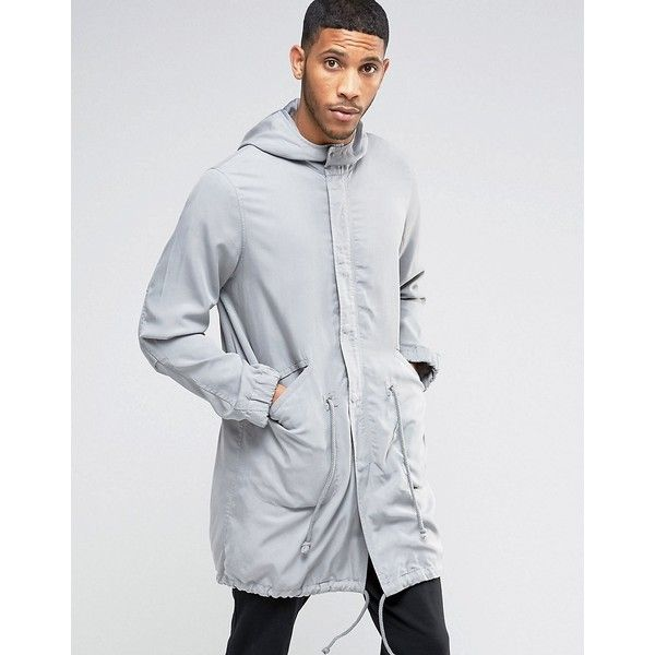 ASOS Tencel Parka Jacket In Grey (835 MXN) ❤ liked on Polyvore featuring men's fashion, men's clothing, men's outerwear, men's jackets, grey, mens gray leather jacket, mens grey jacket, tall mens jackets, mens parka jacket and mens lightweight jacket