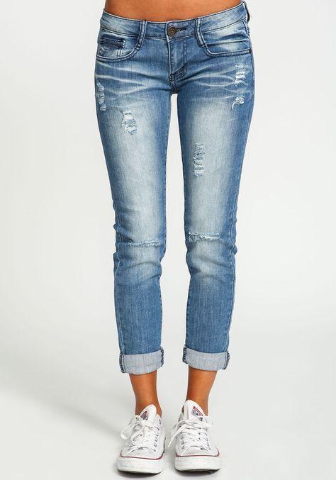 Distressed Cuffed Skinny Jeans - Love Culture 2