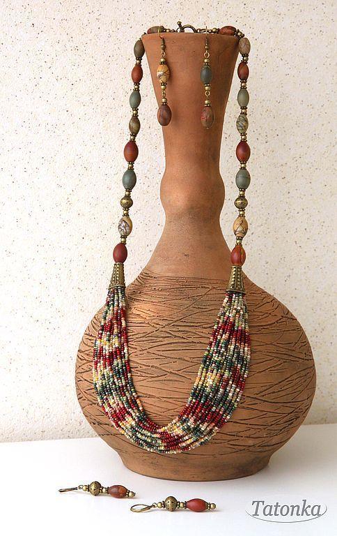 """Купить Гарнитур """"Караван"""" - яшма Пикассо, натуральные камни, земля, песок, Пустыня, коричневый, бежевый"""