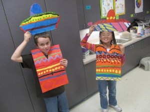 paper bag tunics + plastic bowl & cardboard cutout for sombreros