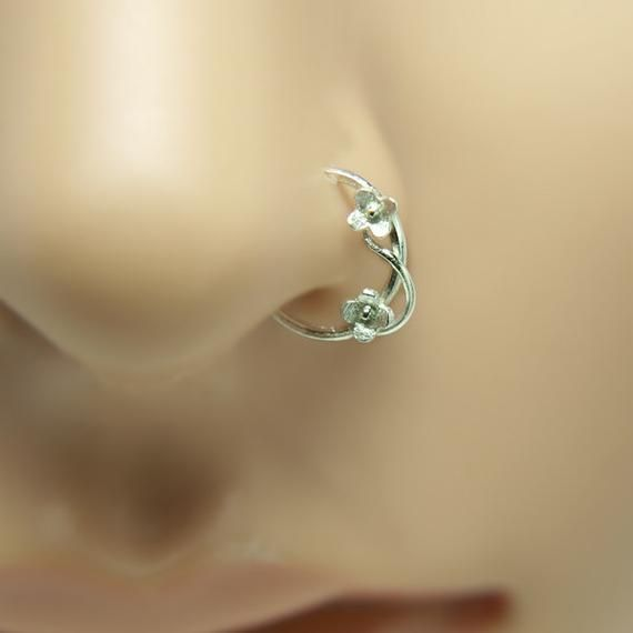 Nose Ring Nose Hoop Nose Piercing Helix Earring Tragus Earring Cartilage Piercing Sterling Silver 8mm Inner Diameter Flower Hoop Nose Piercing Hoop Nose Jewelry Nose Ring