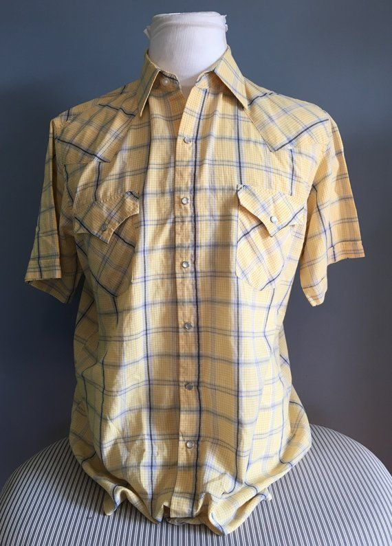 44bc9fc964 Vintage Ely Cattleman Yellow Short Sleeve Pearl Snap Button Down Shirt    Cowboy Shirt   Western
