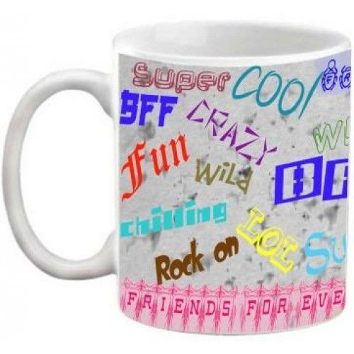 COFFEE MUG - FRIENDSHIP - FRIENDS FOREVER QUOTES PRINTED MULTICOLOUR