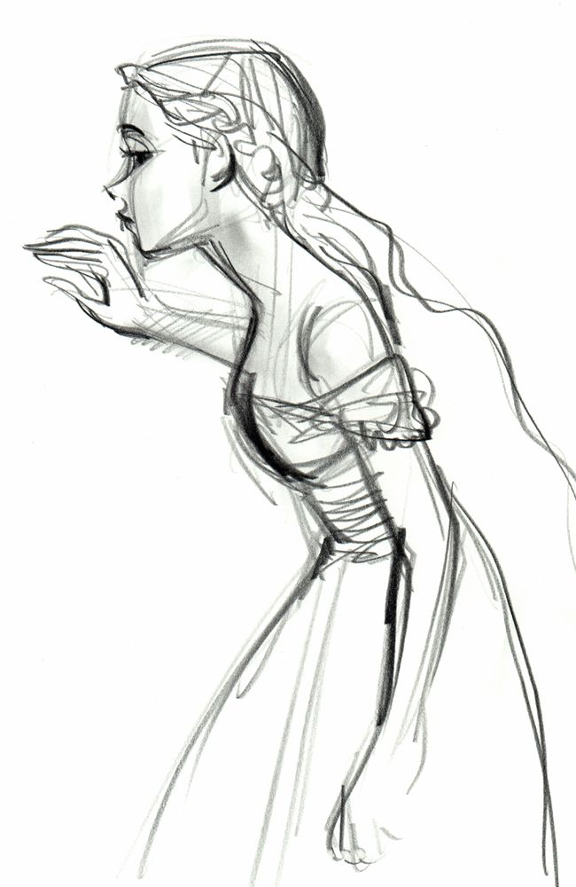 Pencil character sketch, © Art of Walt Disney Animation Studios. >> I think this is an early character sketch of Rapunzel.