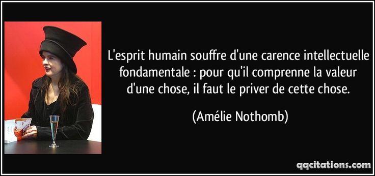L'esprit humain souffre d'une carence intellectuelle fondamentale : pour qu'il comprenne la valeur d'une chose, il faut le priver de cette chose. (Amélie Nothomb) #citations #AmélieNothomb