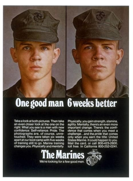 1970's Marines poster... This was kind of the same when mine returned from boot camp (army, not marines) so I get this and I think it's awesome.