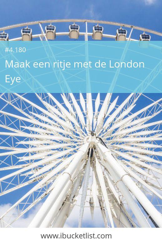 De London Eye staat middenin London en bied je een 360 graden uitzicht over de stad. Waar je ook kijkt, het uitzicht is fantastisch. Kijk naar de Big Ben, de Themes en The House Of Parliament. Stap in de London Eye en geniet (nog een keer) van London uit de lucht. Waarom wachten tot later? Leef nu je BucketLlist!