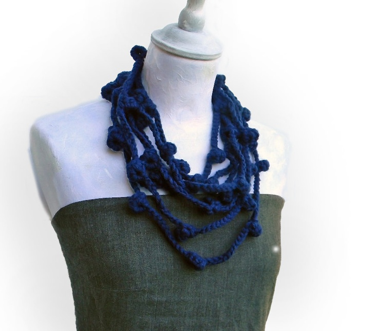 Navy blue crocheted infinity wool yarn necklace, infinity scarf  Lucia, customizable, yarn jewelry, choose your favorite color.