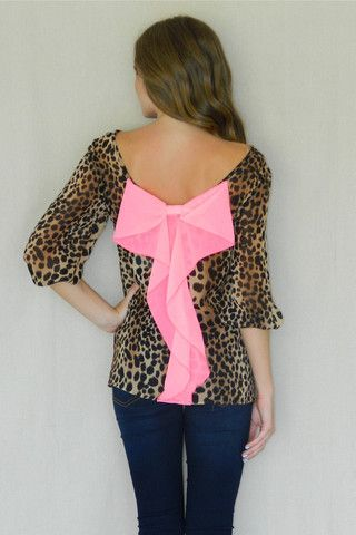 Leopard Bow Back Blouse | Girly Girl Boutique