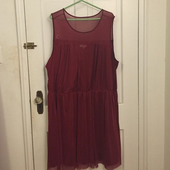 Wine colored dress with sweetheart neckline Red wine colored dress has a sweetheart neckline and fine mesh on top. The upper back area is also made of the same color mesh. Perfect for Valentine's Day! Jack Dresses