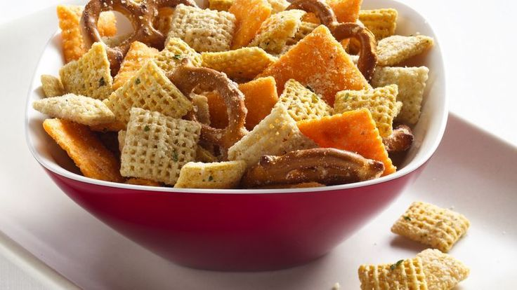 Cheesy Ranch Chex® Mix-Good but needs some more flavor. Possibly some garlic powder and buffalo wing sauce. Do 1/2 white cheddar and 1/2 parmesan cheese for the cheese mixture. Also used white cheddar cheese-its.