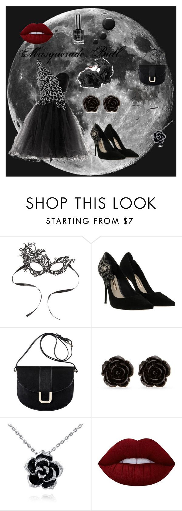 """""""Masquerade Ball"""" by crazyloxer on Polyvore featuring Sophia Webster, A.P.C., Erica Lyons, Lime Crime, Rock 'N Rose, formal, Masquerade and ball"""