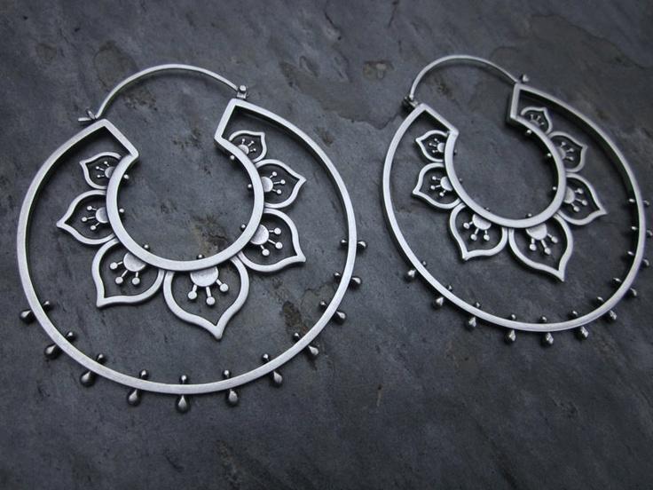 Earrings   Sasha Bell. 'Double Flower Hoops'. Sterling silver from etsy