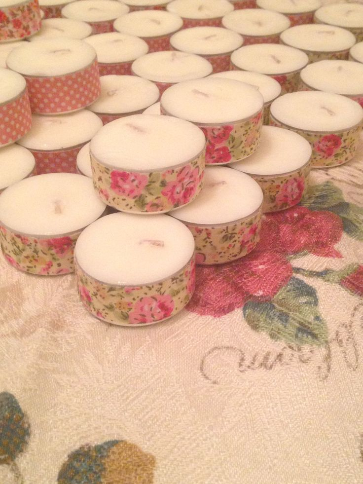 A little washy tape on the tea lights give the added touch. Baby powder scented tea lights for inside the mini tea cups for the perfect thank you gift for guests. Baby shower garden tea party theme
