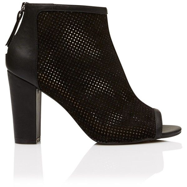 BRONTE PERFORATED PEEPTOE HEEL BOOTIE (90 AUD) ❤ liked on Polyvore featuring shoes, boots, ankle booties, perforated peep toe booties, block heel ankle boots, peep toe ankle booties, peep toe ankle boots and peep-toe boots