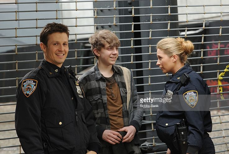 Will Estes, Gabriel Rush and Vanessa Ray on the set of 'Blue Bloods' on April 3, 2014 in New York City.