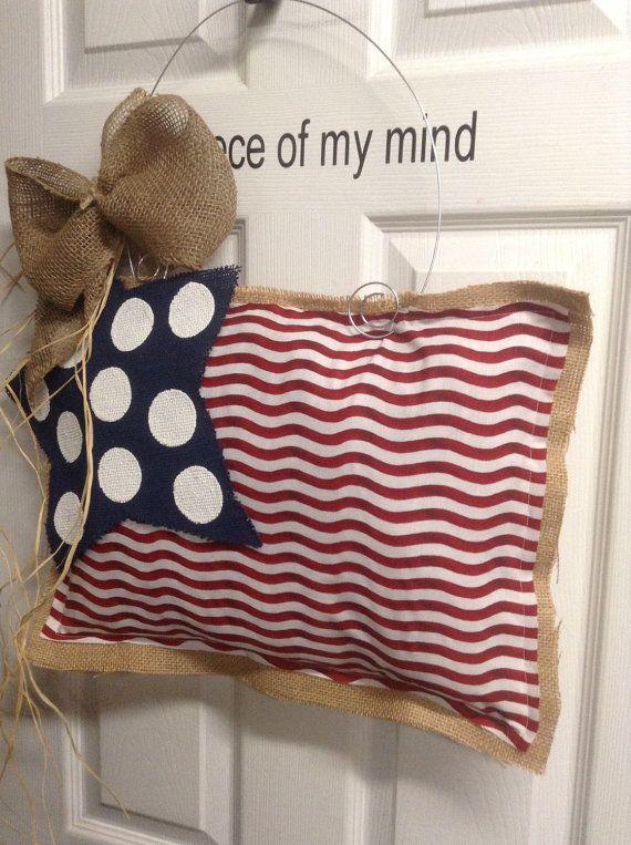 Burlap Door Hanger Flag by nursejeanneg on Etsy