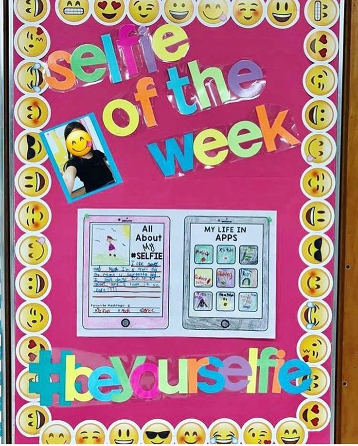 Selfie of the week- modern twist on student of the week. Perfect for a bare bulletin board or door!! See this Instagram photo by @targetteachers • 584 likes
