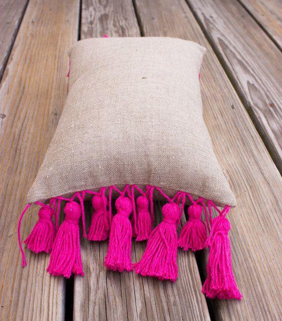 Pink Tassel Linen Pillow COVER