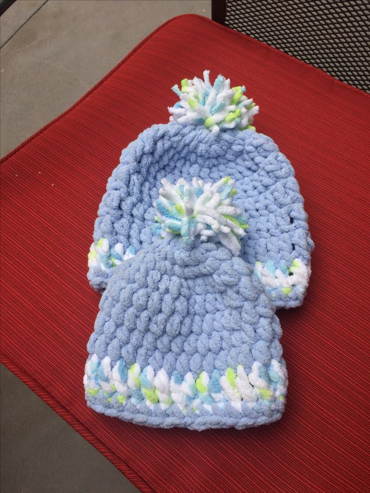 Newborn hat and a 3 to 6 month hat.