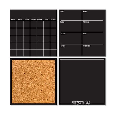 This Dry-Erase 4-Piece Calendar/Weekly Planner/Notes Board/ Cork Board Set makes it easy to keep an organized schedule. Hang them near your desk for easy access and reference. The dry-erase marker makes these organizational tools reusable over and over.