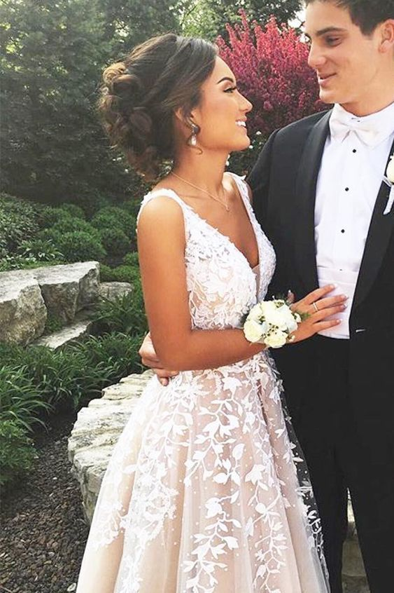 Elegant V neck Champagne Tulle Appliques Formal Prom Dress, Champagne Beads Wedding Dress