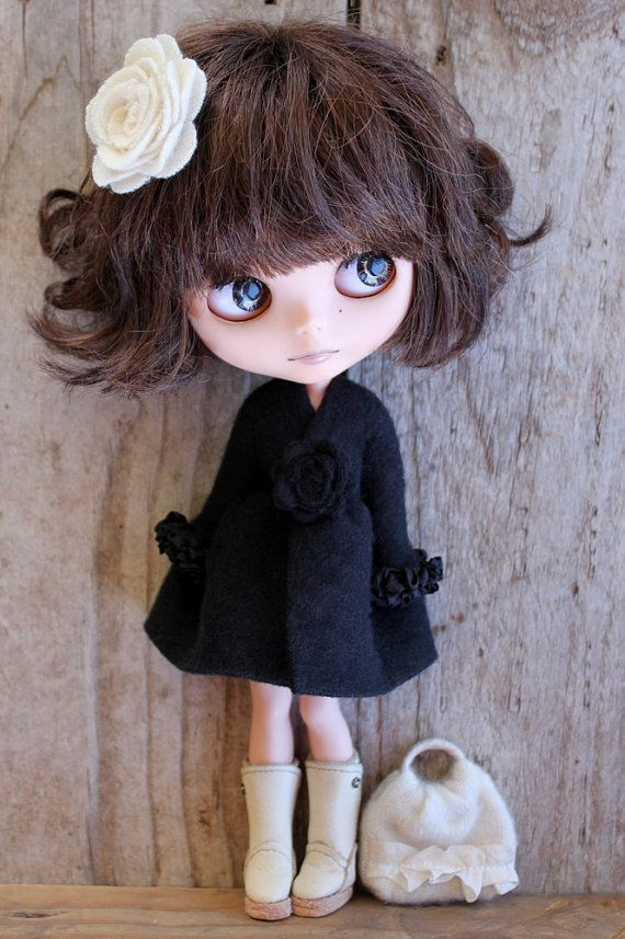 Jet Black Fleece Wrap Dress for Blythe by TaylorCouture on Etsy, $35.00