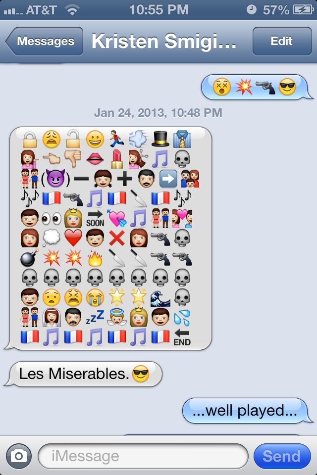 Les Miserables funny emoji message! Text message battle:) I have legit done this before hehehe