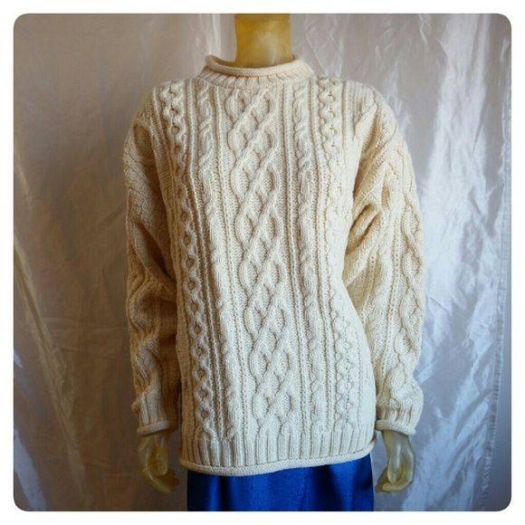 Inis crafts authentic irish wool sweater chunky warm for Inis crafts ireland sweater