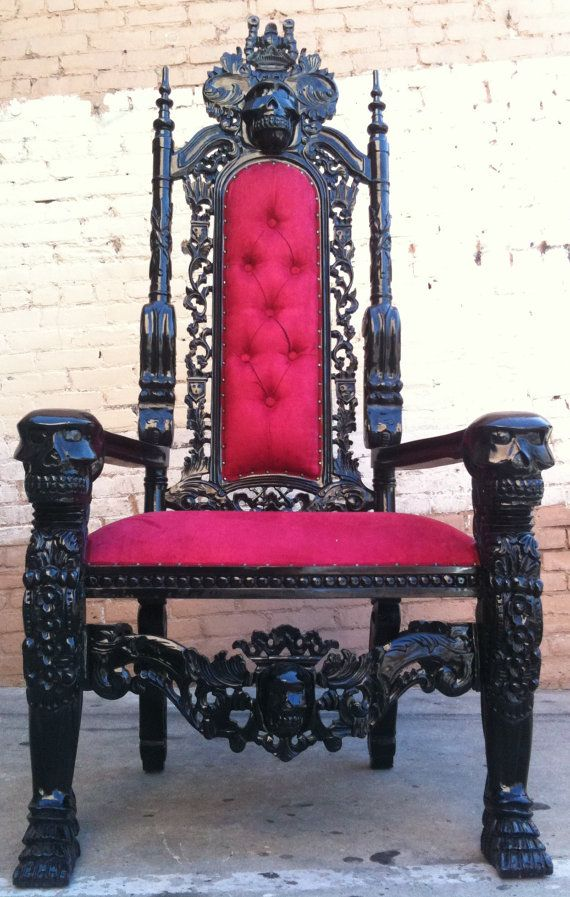 Add It To Your Favorites To Revisit It Later. Black Red Skull Skeleton King  Chair Queen Throne Rock And Roll Hollywood Glamor